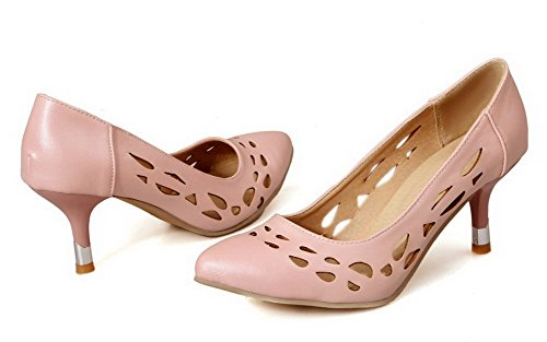 Odomolor Women's Soft Material Pull-On Closed-Toe Kitten-Heels Solid Pumps-Shoes Pink hOsHPvYQR0