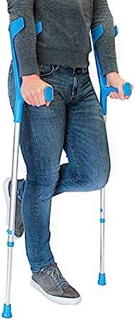 PEPE-MULETAS, Muletas adulto regulables aluminio, Muletas ortopédicas, Muletas adulto regulables, Muleta azul, Pack 2 unidades