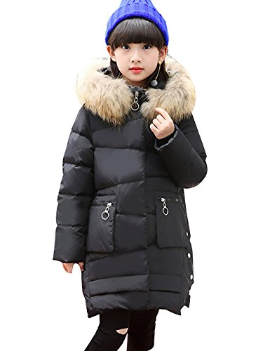 Menschwear Girl's Down Fur Hooded Jacket Winter Warm Outwear Winter Coat (150,Black) by Menschwear