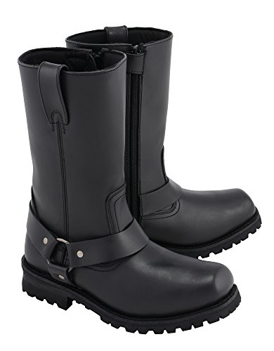 M Boss Apparel BOS49001 Mens 12 inch Classic Black Harness Leather Motorcycle Boots - 9.5