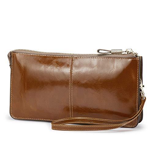- Lecxci Luxury Womens Genuine Leather Clutch Cell Phone Handbags, Zipper Wristlets Wallets Purse for Women (Apricot RFID Blocking)