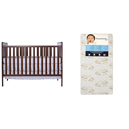 Dream On Me Classic 3 in 1 Convertible Stationary Side Crib with Dream On Me Spring Crib and Toddler Bed Mattress, Twilight