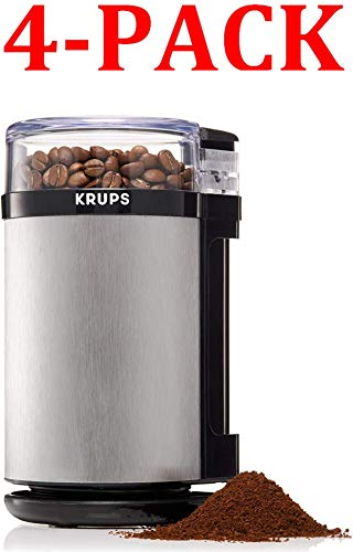KRUPS GX4100 Electric Spice Herbs and Coffee Grinder with Stainless Steel Blades and Housing, 3-Ounce, Gray (3-Ounce, 4-Pack)