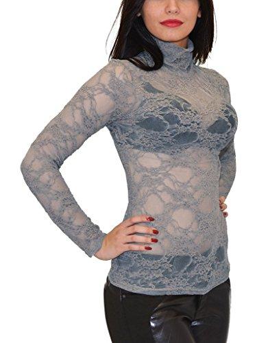 Longues Sexy Top Blouse Femmes Gris Transparente Femme Floral Chemise Motif B13 avec Haute tex by YnP0g7q