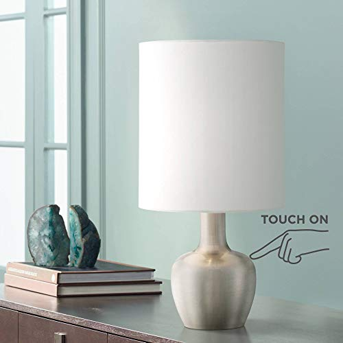 Betsy Modern Desk Table Lamp 15 1/4 High Brushed Steel White Drum Shade Touch On Off for Bedroom Bedside Office - 360 Lighting