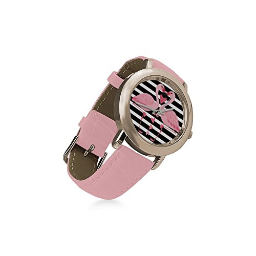 Friends Gifts Lovers Gifts Black White Stripes Two Love Flamingos Women's Gold Leather Strap Watch by Flamingo Watch (Image #2)