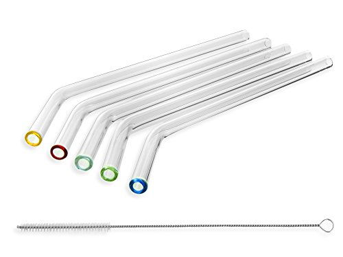 STRAWGRACE Handmade Glass Straws Coloured Tips Clear Bent 9in x 10mm 5 Pack With Cleaning Brush - Premium Glass - Healthy, Reusable, Eco Friendly, BPA Free, Very Sturdy Milkshake and Smoothie Straws