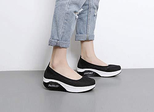 para Caminar Negro Aitaobao Mocasines Zapatillas Casual Mesh Mujer Cómodos Cuña Plataforma Sneaker Sandalias f0f8qwZx