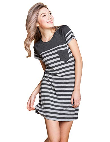 Suntasty Women's Sleep Shirt Cotton Soft Stripes Short Sleeve Crewneck Nightgown Robes Dress Nightwear Grey S