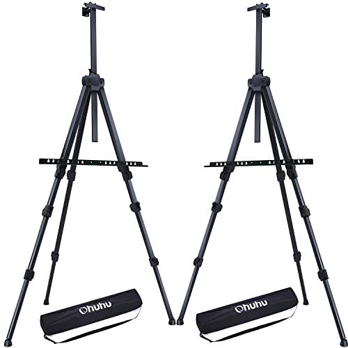 "Display Easel Stand, Ohuhu 72"" Aluminum Metal Tripod Field Easel with Bag for Table-Top/Floor, 2-Pack Black Art Easels W/Adjustable Height from 25-72"" for Poster, Displaying, Drawing from Ohuhu"
