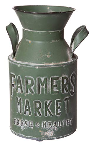 (Old Fashioned Aged Metal Milk Can, Rustic Farmhouse Inspired Planter Vase Decorative Jug, Medium Sized, 10 Inches)