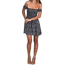 Kimloog Women's Off Shoulder Floral Printed Slim Evening Party Short Mini Dress Casual Beach Sundress