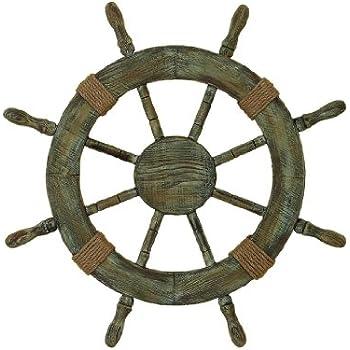 "Nautical Decor 24"" Wood Pirate's Ship Wheel Marine Decor"