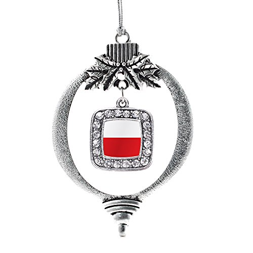 (Inspired Silver - Poland Flag Charm Ornament - Silver Square Charm Holiday Ornaments with Cubic Zirconia Jewelry)
