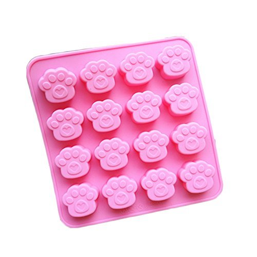 JLHua 2 Pack 16 Cavity Paw Print Silicone Non Stick Cake Bread Mold Chocolate Jelly Candy Baking Mould