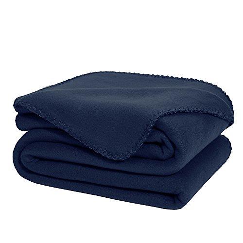 Oversized Super Soft Fleece Throw Blanket Navy Blue Sofa