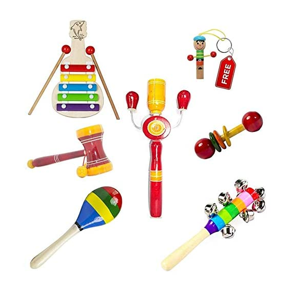 Simple Days Baby Rattle Wooden Musical Toys - Set of 6