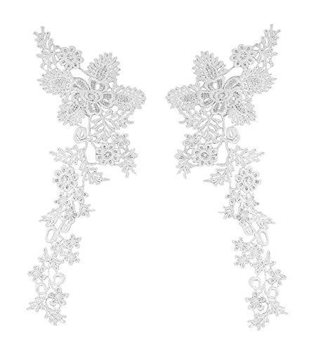 Honbay 1 Pair Bright White Lace Flower Leaves Embroidery Applique Patch Sewing Craft Decoration