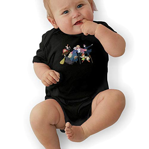 Howl's Moving Castle Short-Sleeve Baby Bodysuit Romper Cool Baby Boy's Suit 45 Gift Black