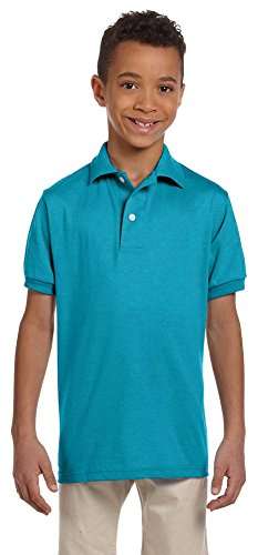 Jerzees Youth 5.6 oz., 50/50 Jersey Polo with SpotShield (437Y)- CALIFORNIA BLUE,XL - Jerzees Youth Jersey Polo