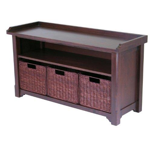 Walnut Finish Storage Bench - 1
