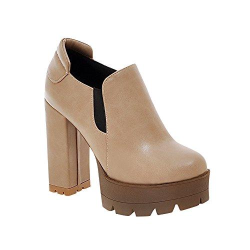 Latasa Womens Fashion Platform Block High Heel Fall Ankle Boots Apricot zseeEm