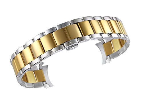 - 22mm Deluxe Stainless Steel Watch Bracelet Wristbands Dual Tone Silver and Gold Bent End Deployant Clasp