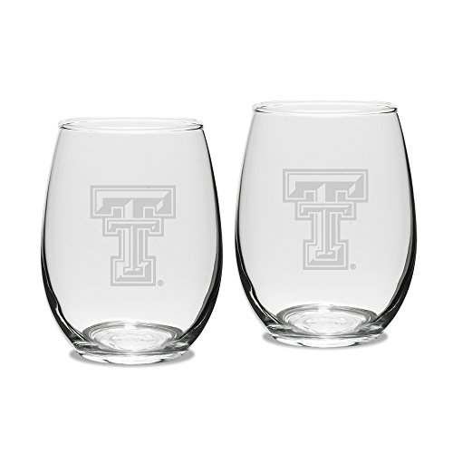 NCAA Texas Tech Red Raiders Adult Set of 2 - 15 oz Stemless Wine Glass Deep Etched Engraved, One Size, Clear