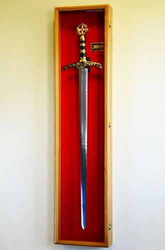 Vertical Long Sword Display Case Cabinet Wall Rack Claymore Long Swords Medieval 54