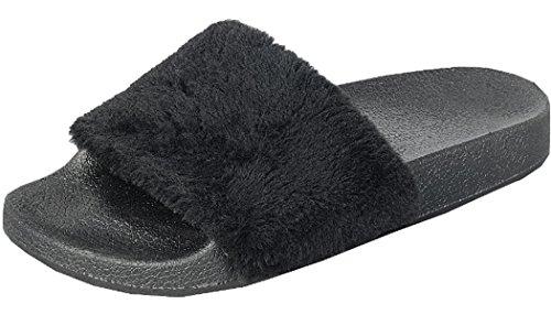 Forever Link Womens Faux Fur Slip On Flip Flop Slide Sandal Black Mjv2NIa