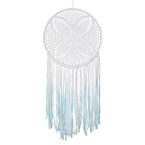 Asian Hobby Crafts Macrame Handcrafted Dream Catcher Wall Hanging – Turquoise White Crochet Boho Style for Room Decor, Nursery Decor, Baby Shower, Gifting, Size – 28 x 14 inches (L x Dia)
