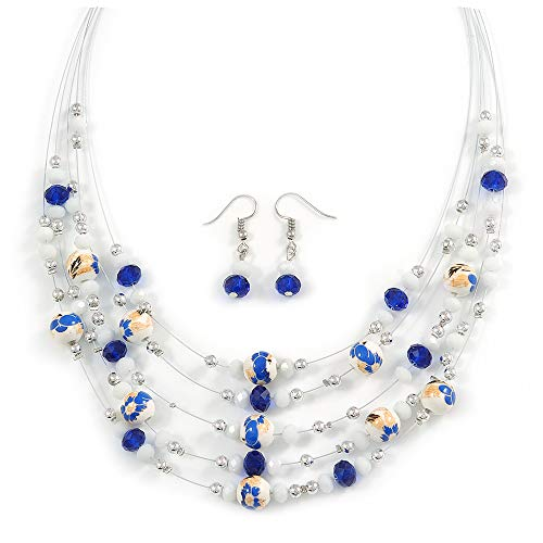 Avalaya Romantic Multistrand Layered Glass/Ceramic Beaded Necklace and Drop Earrings Set (White, Blue) - 50cm L/ 5cm Ext - Earrings Ceramic Set