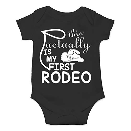 This is Actually My First Rodeo - Funny Country Cowboy and Cowgirl - Cute One-Piece Infant Baby Bodysuit (6 Months, Black) (Cowboy Towel Baby)