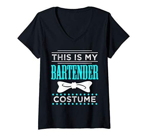 Womens Halloween Bartender Funny Costume Server Bartending Gift V-Neck T-Shirt