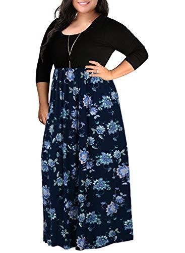 - Nemidor Women's Chevron Print 3/4 Sleeve Plus Size Casual Maxi Dress (16W, NavyPrint+Sleeve)