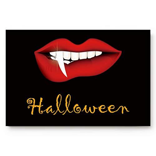 Fafahome Halloween Doormat Vampire Red Lips Welcome Floor Mat for Living Dining Dorm Room Bedroom Home, 18 x 30 Inch -