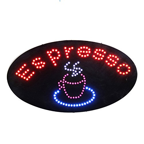 LED Coffee Cafe Espresso Open Light Sign Super Bright Electric Advertising Display Board for Business Shop Store Window Bedroom (19 x 10 inches) -