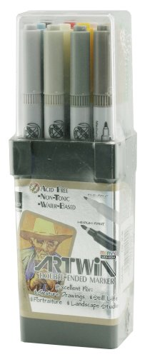 Double Marker America Tip (Uchida 1314-12D Artwin Double-Ended Bullet-Tip Markers, Colors 37-48, Set of 12)