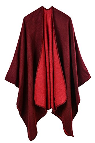 Pink Queen Women Oversized Cashmere Knitted Poncho Cape Cardigan Coat Shawl Wrap (Wine Red-728)