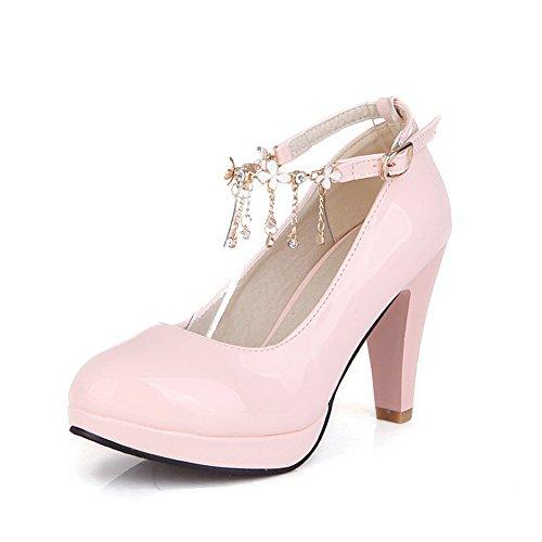 1TO9 Womens Studded Rhinestones Metal Buckles Metal Ornament Pink Polyurethane Pumps-Shoes - 11 B(M) (Satin Sandal Rhinestone Ornament)