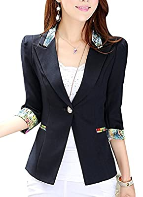 Aro Lora Women's 1/2 Long Sleeve Slim Fitted Floral Print Casual Suit Jacket Blazer