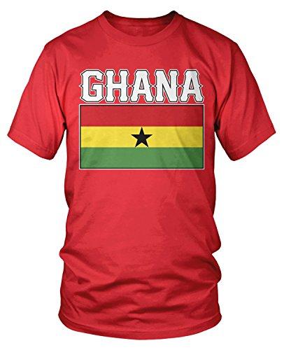 Amdesco Men's Ghanaian Flag, Love Home, Flag of Ghana T-Shirt, Red -