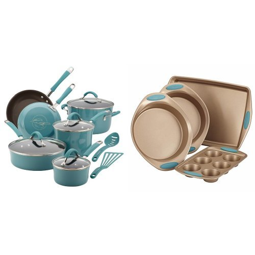 Rachael Ray Cucina Hard Porcelain Enamel Nonstick Cookware Set, 12-Piece, Agave Blue and Rachael Ray Cucina 4-Piece Bakeware Set, Latte Brown with Agave Blue Handle Grips Bundle