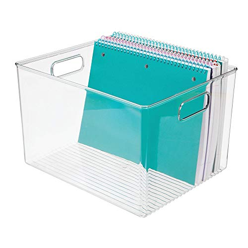 mDesign Plastic Storage Container Bin with Carrying Handles for Home Office, Filing Cabinets, Shelves - Organizer for School Supplies, Pens, Pencils, Notepads, Staplers, Envelopes - Clear
