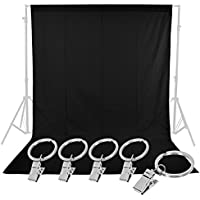 Neewer Photo Studio 6 x 9FT / 1.8 x 2.8M Pure Muslin Collapsible Backdrop with 5-Pack Spring Clamps for Photography,Video and Television(Black)