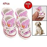 Como Size 1 Nonslip Sole Flower Sneakers Pet Dog Canvas Shoes Pink, My Pet Supplies