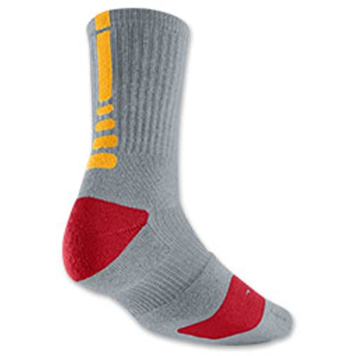 Nike Lebron Vi (Nike Elite Men's Lebron Basketball Crew Socks Medium (Size 6-8) Gray, Gold, Red)