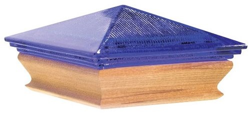 Woodway Products 870.3349 4-by-4-Inch Cedar Trimmed Glass Pyramid Post cap, 12-Pack, Cedar/Blue by Woodway
