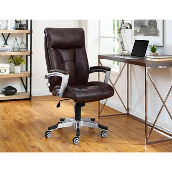 Alain Office Brown Bonded Leather Chair With Sealy Posturepedic Memory Foam