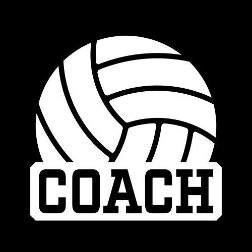 Coach Vinyl - Volleyball Coach Vinyl Decal Sticker | Cars Trucks Vans Windows Walls Cups Laptops | White | 5 X 4.8 Inches | KCD2004
